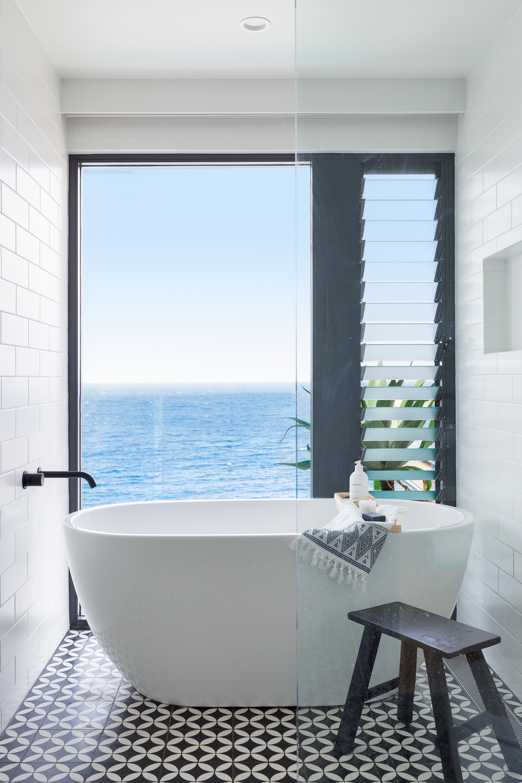 Interior bathroom design with a view