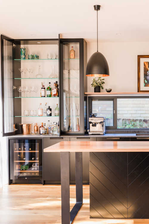modern industrial black and timber kitchen