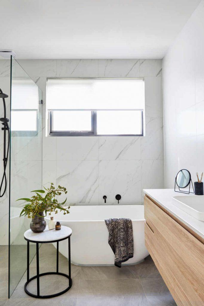 modern bathroom freestanding bath floating vanity